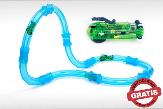 Circuito de carreras tubo Iluminado es una pista en forma de tubo por el cual circula un vehículo controlado remotamente ¡Sensación de que el coche flota en el recorrido!