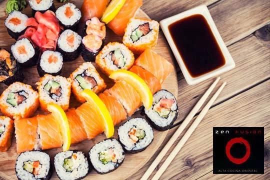 Sushi para llevar con una Bandeja con 19 piezas: homosaki, uramaki, nigiri.. en Zen Fusión ¡Sabores de Oriente!