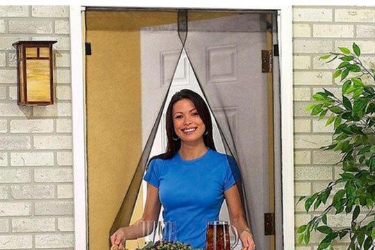 1 o 2 cortinas mosquiteras para puertas con cierre magnético