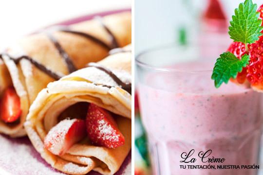 ¡Disfruta de una merienda dulce en La Creme! Degusta 2 crepes con batido, smoothie o frappé a elegir