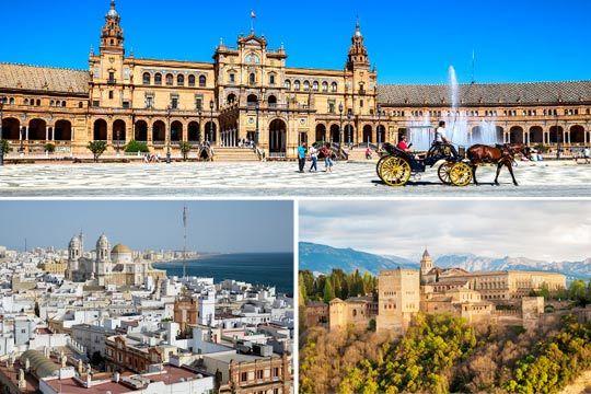 Descubre el encanto de Cádiz, Granada, Córdoba, Sevilla... con un circuito en bus, alojamiento en hoteles 3* o 4*, guía oficial y mucho más
