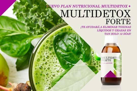 Elimina toxinas, líquidos y grasas en tan solo 12 días con el Plan Nutricional MultiDetox, el complemento alimenticio MultiDetox Forte y un vídeo de guía
