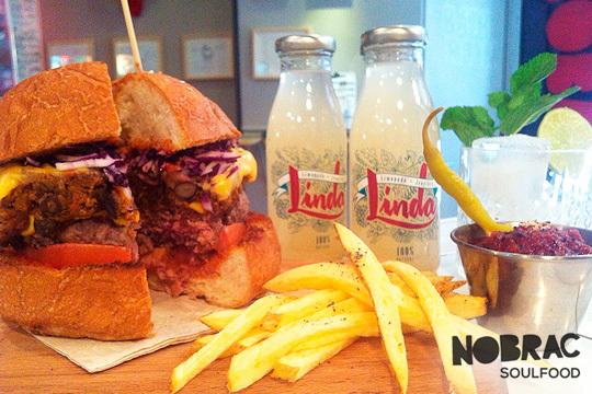 Menú gourmet de 1 o 2 hamburguesas con patatas + brownie + bebidas en Norbrac Solufood