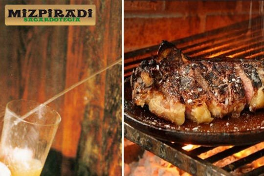 Degusta un rico menú de sidrería con txuleton a la brasa y mucho más en el caserío más tradicional de Andoain, la Sidrería Mizpiradi