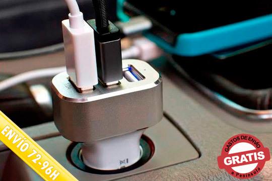 Carga tus dispositivos mientras conduces en un tiempo récord gracias a este fantástico cargador de mechero de alta velocidad ¡Con 3 puertos USB y tecnología SmartIC!