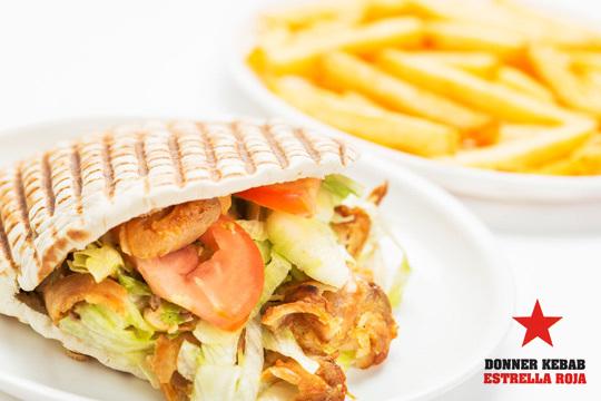 Elige entre un Kebab, Durum o Lahmacun de ternera o pollo con patatas y bebida en Estrella Roja Doner Kebab