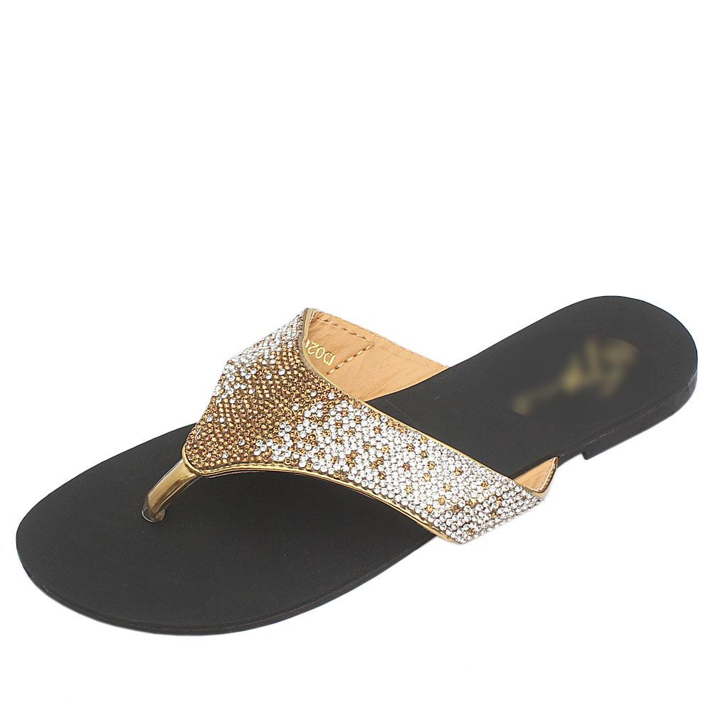 Gius Champagne Gold Studded Premium Leather Flat Slippers