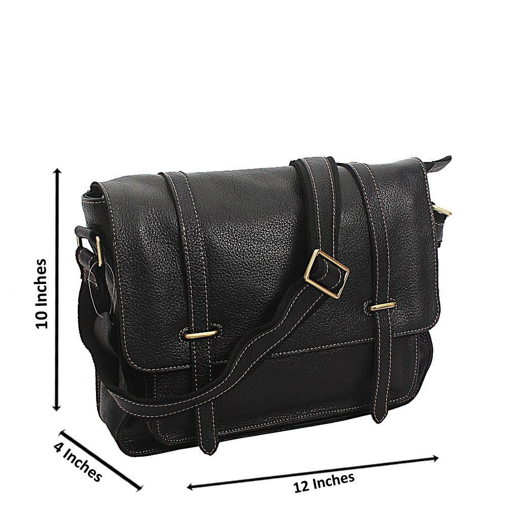 Black Midsize Vintage Leather Messenger Bag