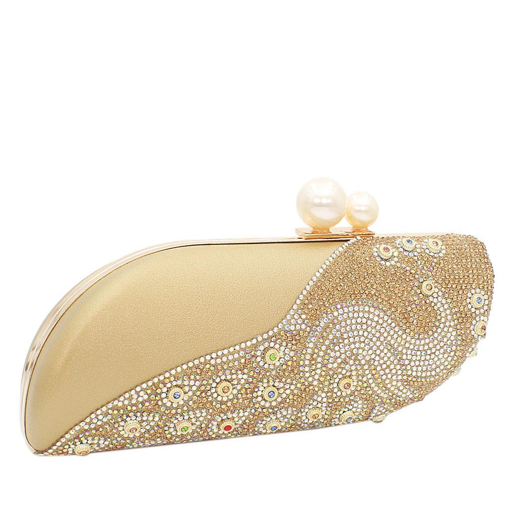 Gold Nina Crystal Studded Leather Clutch Purse