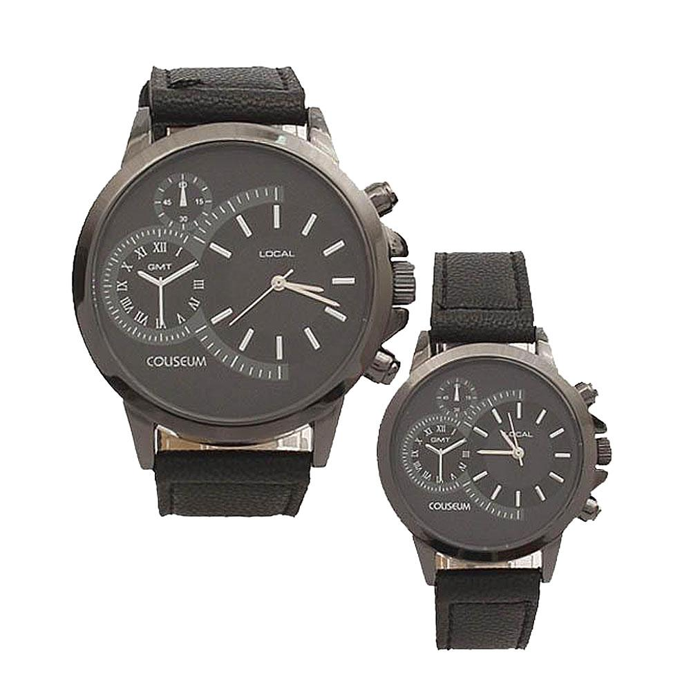 Coliseum Soulmate Black Leather Couples Watch-
