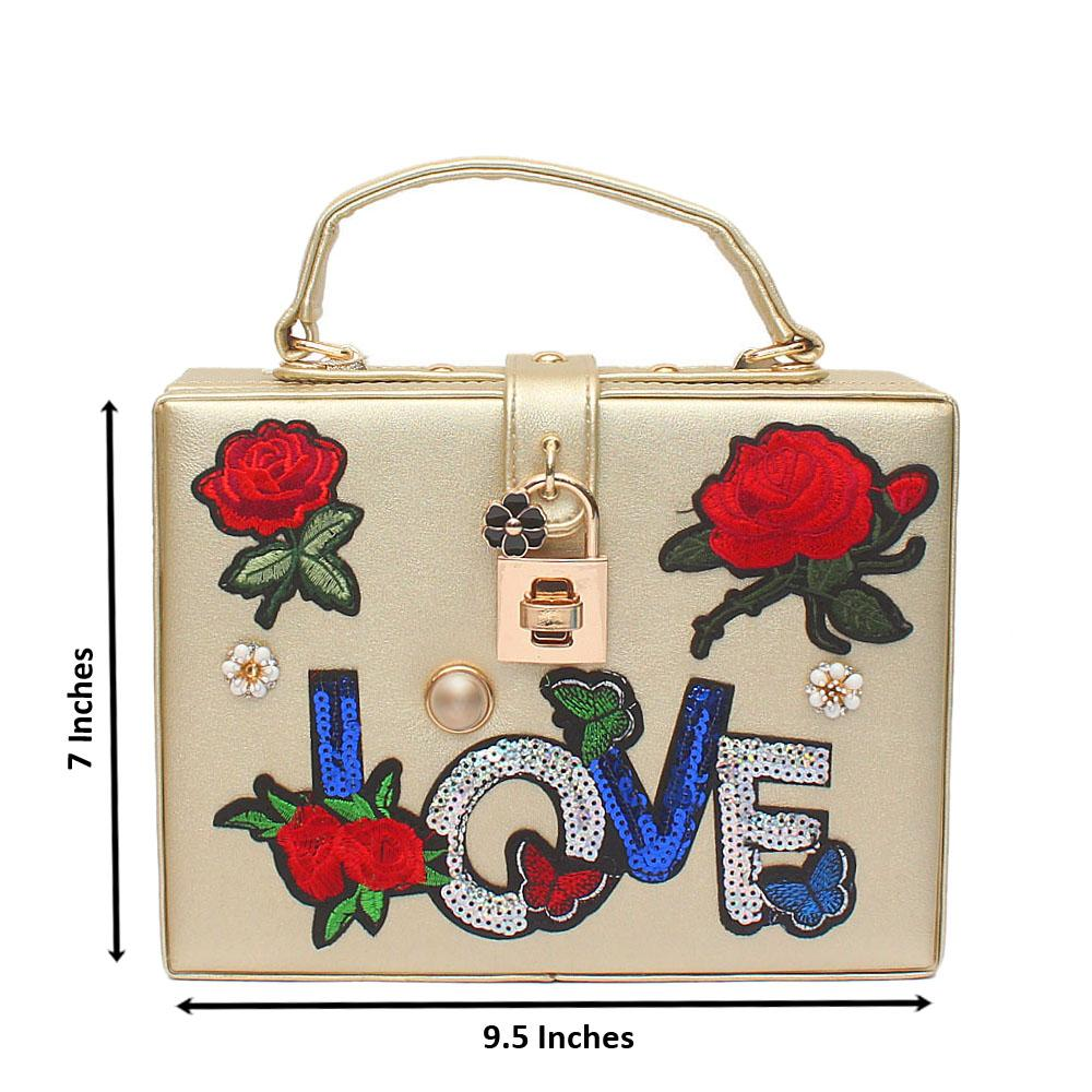 Love Flora Gold Leather Bag