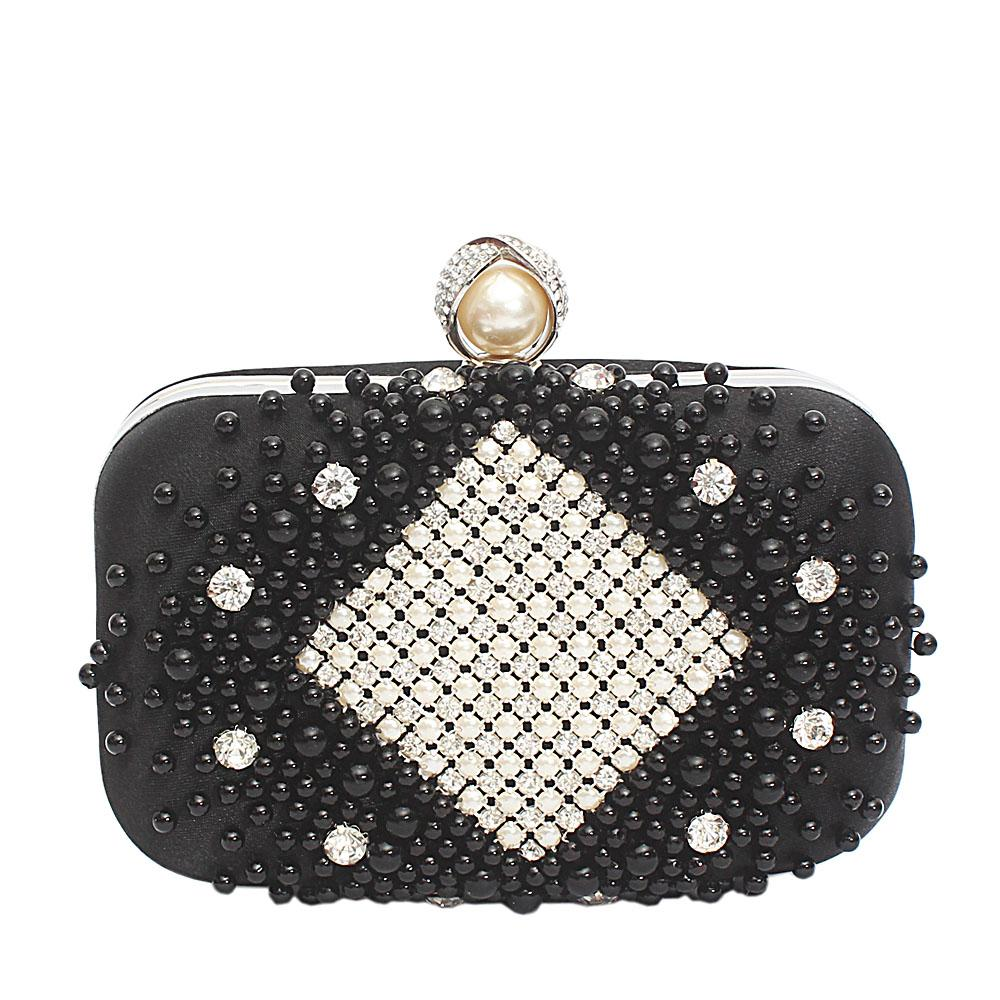 Black Fabric Beaded Premium Hard Clutch