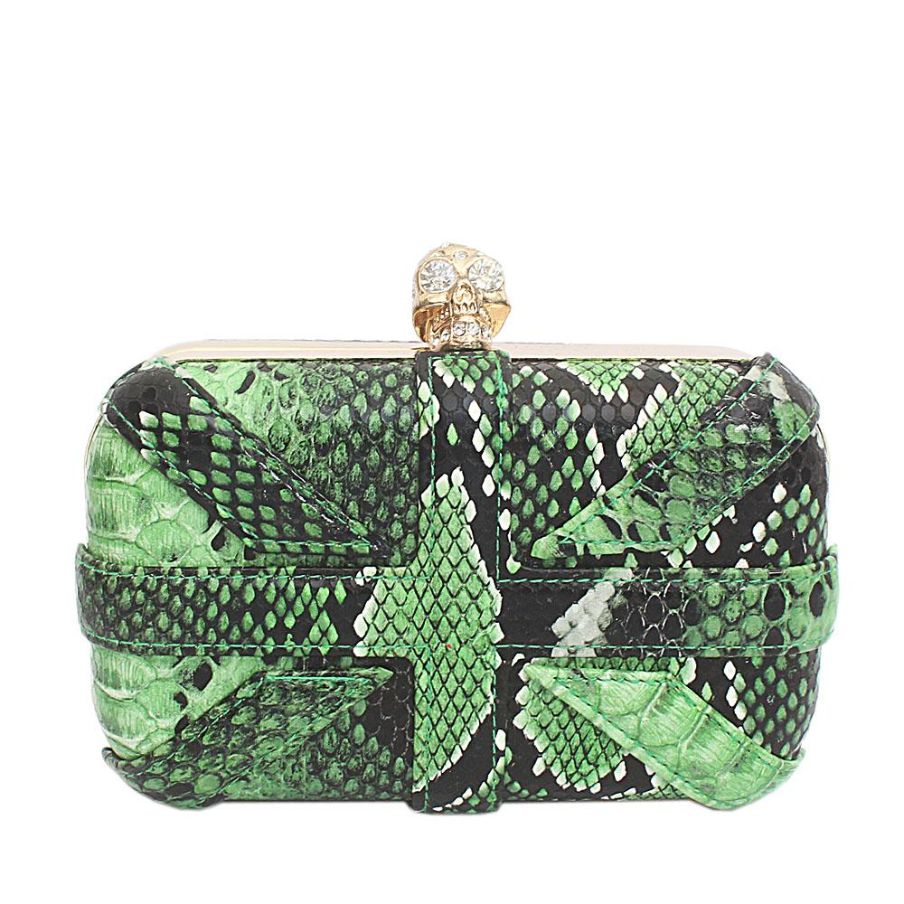 Green Leather Premium Hard Clutch
