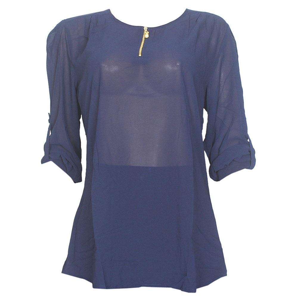 Anna Taylor Navy Chiffon See Through L/Sleeve Ladies Top