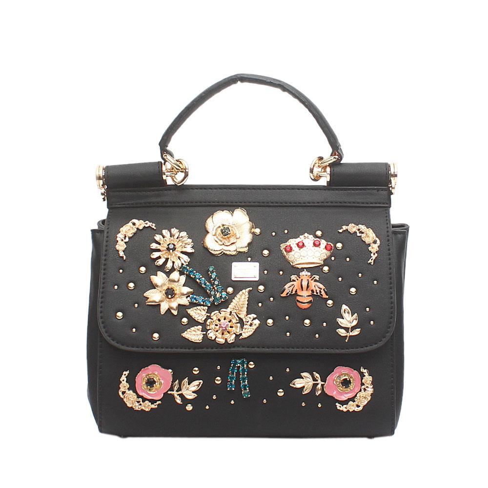 Black Studded Leather Single Handle Bag