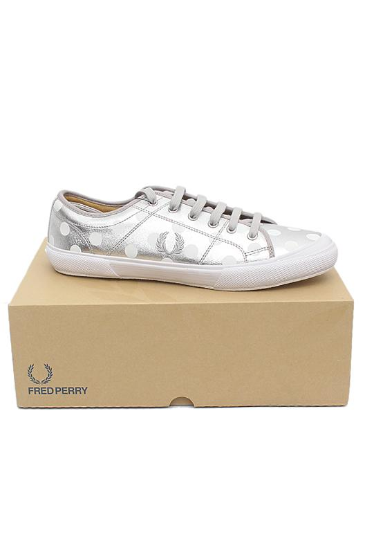 Fred Perry Metallic Silver White Lace Up Men Sneakers