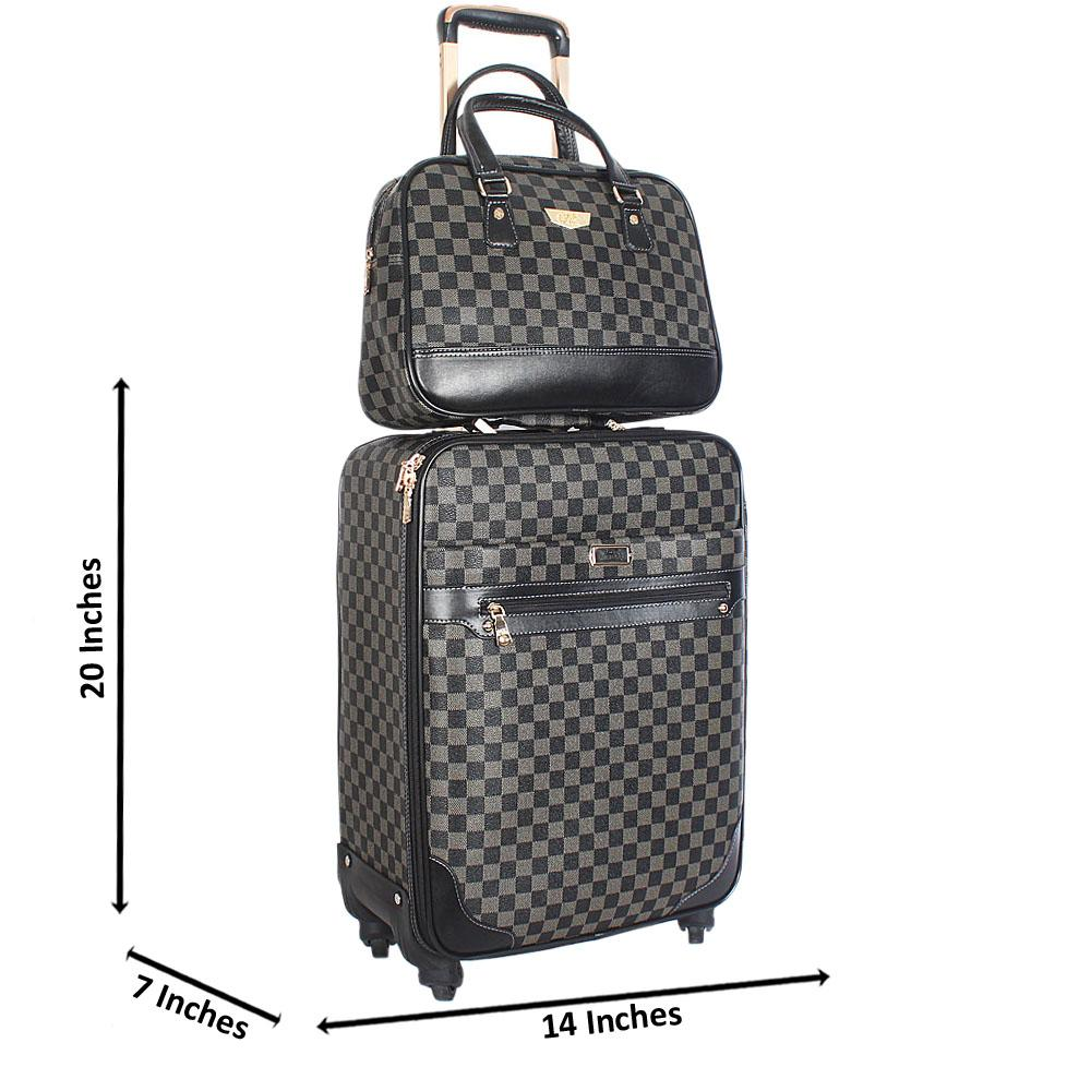 Gray 20 Inch Leather 2 in 1 Carry On Luggage Wt Lock