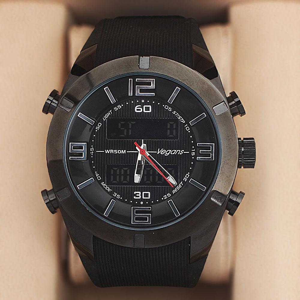 Vegans Black Rubber Water Resistant 50M Analog-Digital Watch