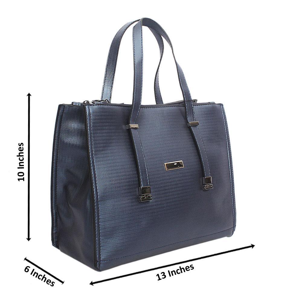 Navy Blue Leather Handbag Wt Inside Peeling