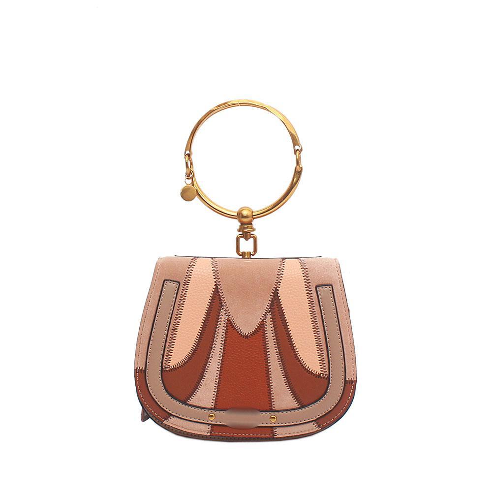Brown Peach Saffiano Leather Small Mini Nile Bracelet Bag