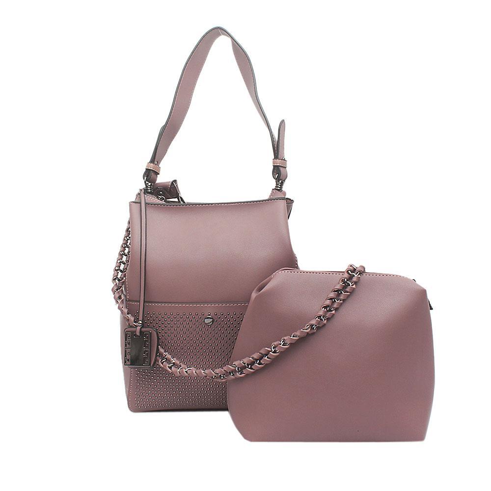 London Style Lilac Leather Shoulder Bag Wt Purse