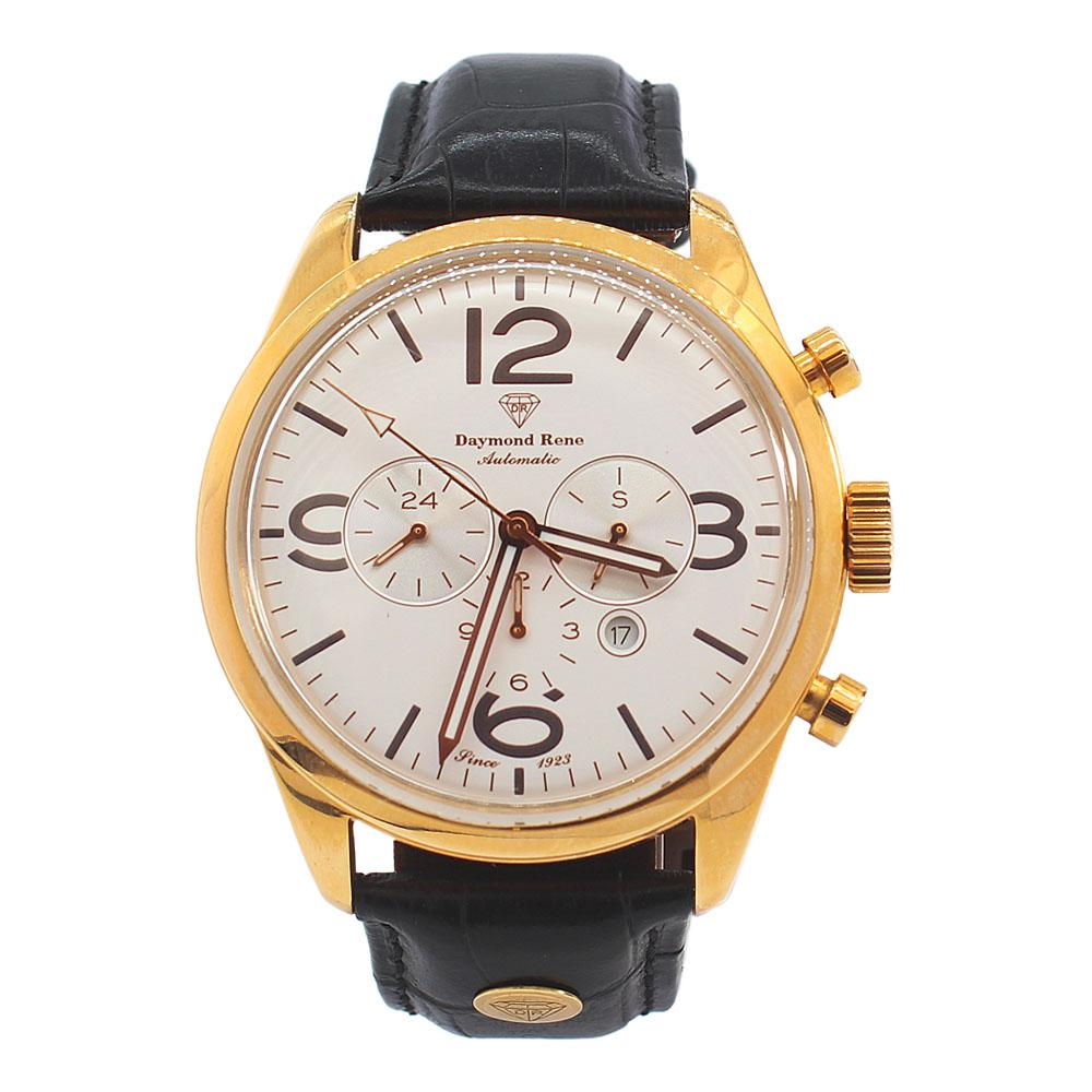 DR 3ATM Gold Black Leather Automatic Watch
