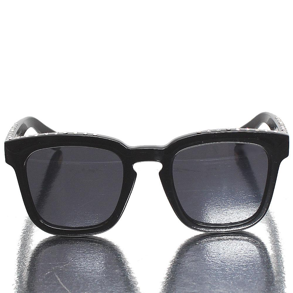 Black Studded Wayfarer Dark Lens Sunglasses