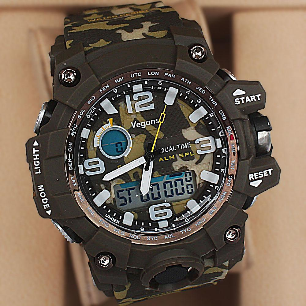 Vegans Marine Camo Dual Time Watch wt Extra Straps