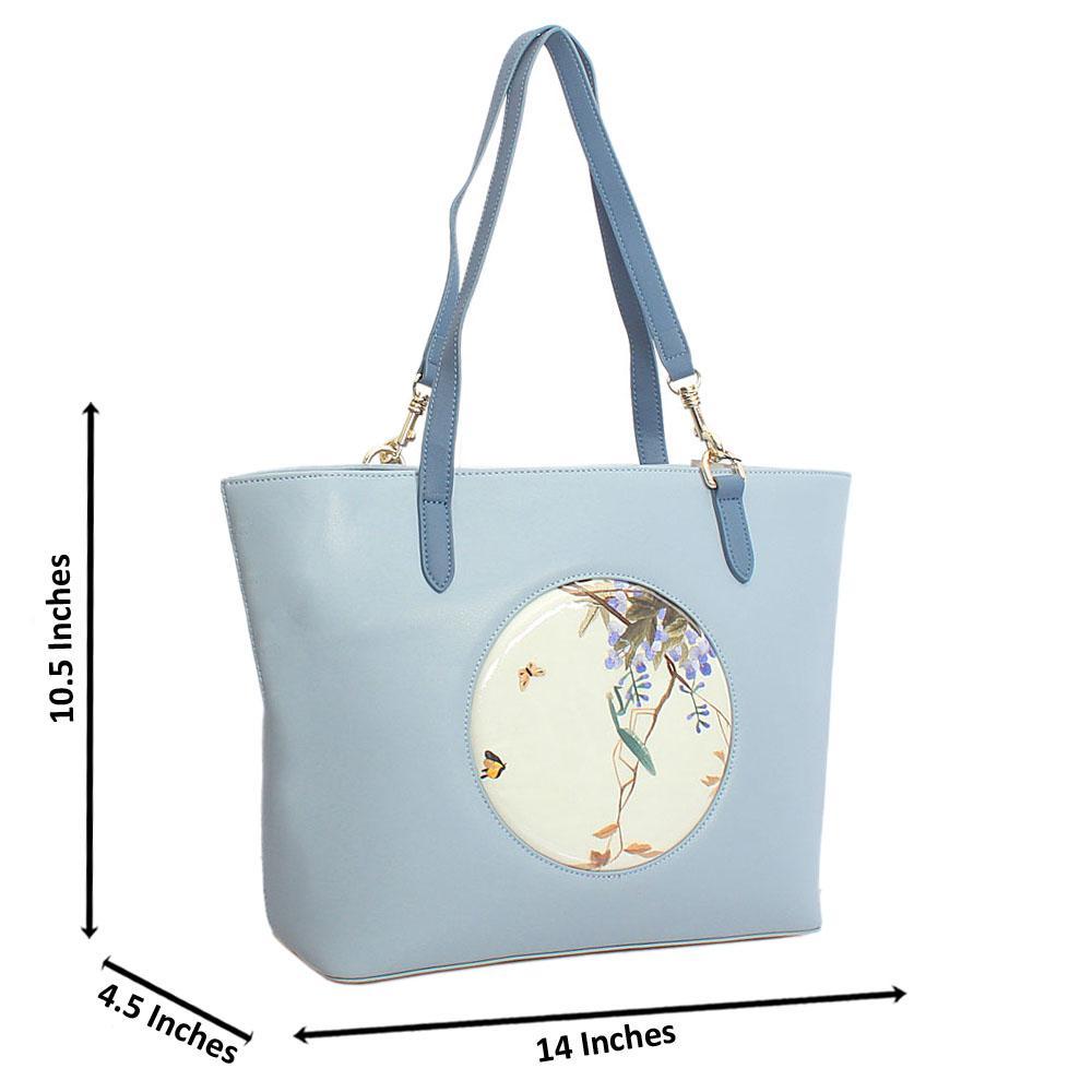 Blue Spring Style Large Saffiano Leather Shoulder Handbag