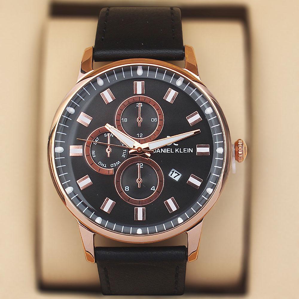 Daniel Klein Aticcus Black Gold Steel Leather Pilot Series Watch