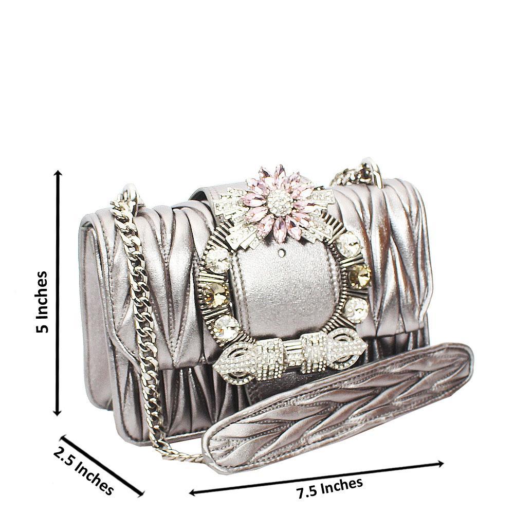 Gray Shimmering Crytals Studded Chain Crossbody Handbag