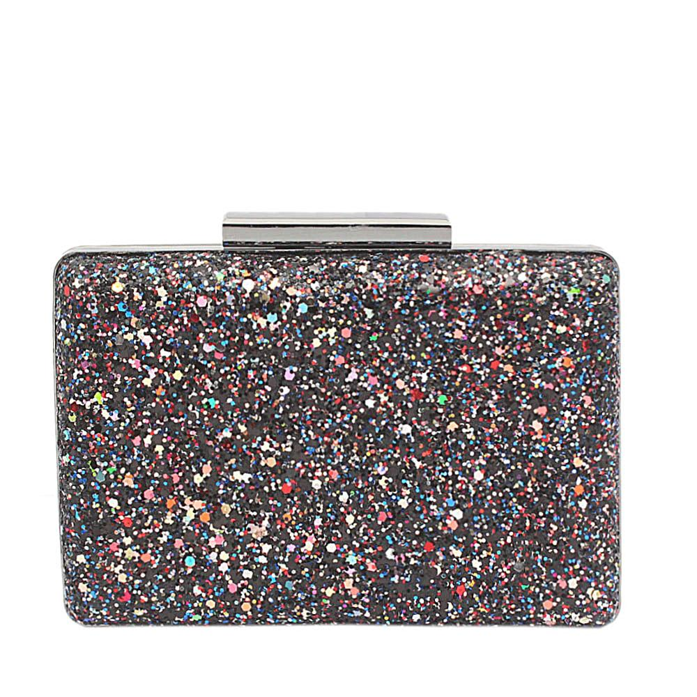 Black Glitz Premium Hard Clutch Purse