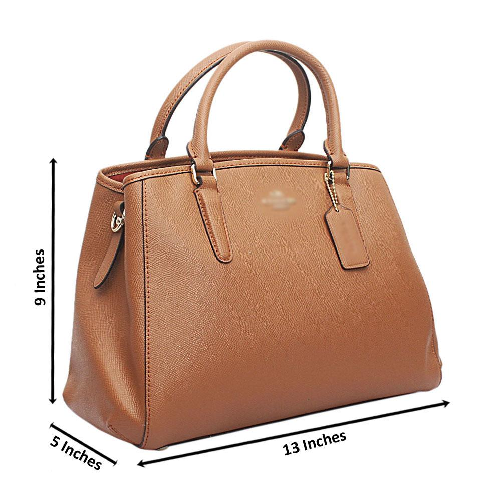 Camel Brown Cahier Saffiano Leather Handbag