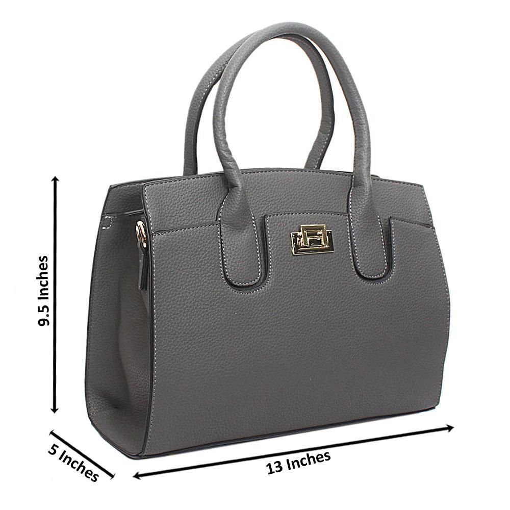 Grey Leather Medium Blossom Handbag