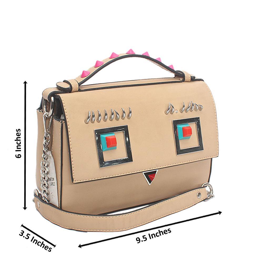 Khaki Brown Leather Bag Wt Stain