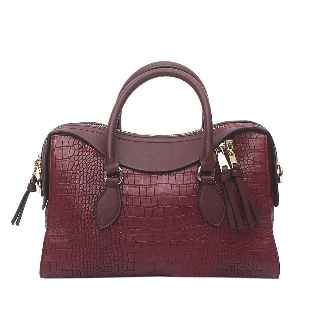 Wine Croc Leather Tote Bag