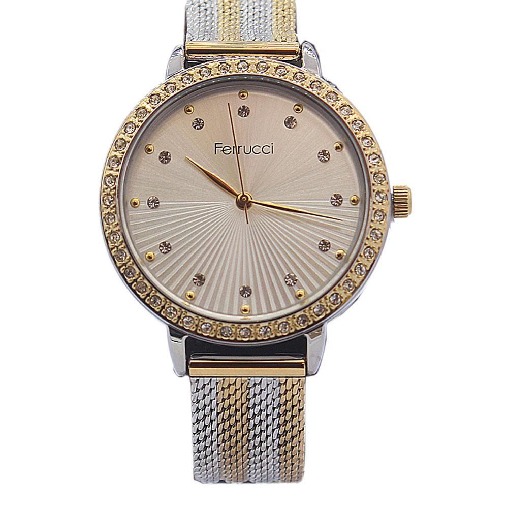 Ferrucci Studdded Silver Gold Stainless Mesh Ladies Watch