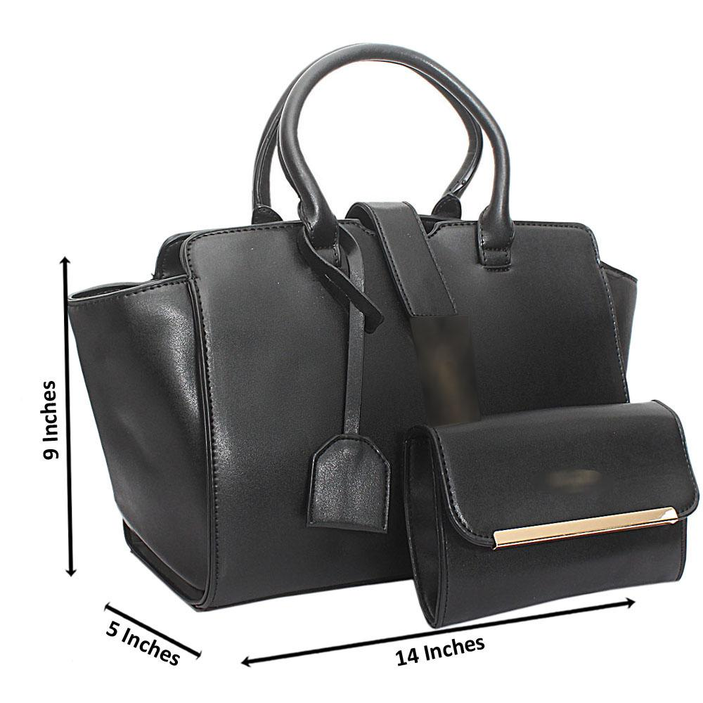Black Leather Trapezoid Bag
