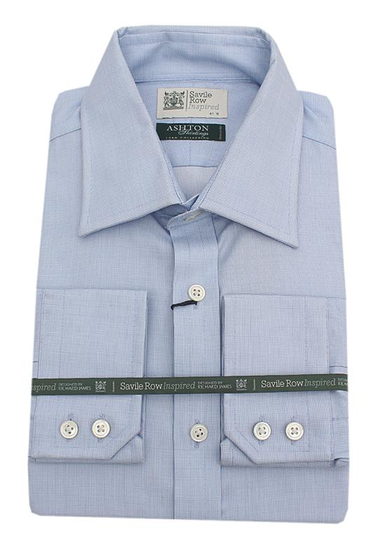Savile Row Inspired Sky Blue Regular Fit L/Sleeve Men Shirt