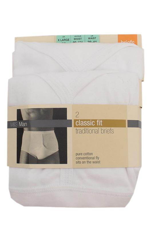 M&S Man Classic Fit White Cotton Traditional Briefs