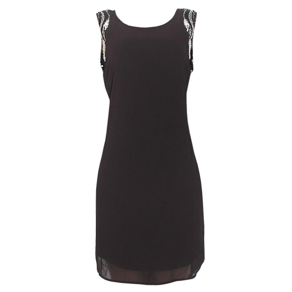 Good Per Una Black Dress Part - 12: Per-Una Black Studded Sleeveless Chiffon Dress Sz-Uk 14