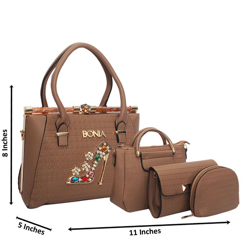 Bonia-Emelia-Khaki-Leather-4-in-1-Tote-Handbag