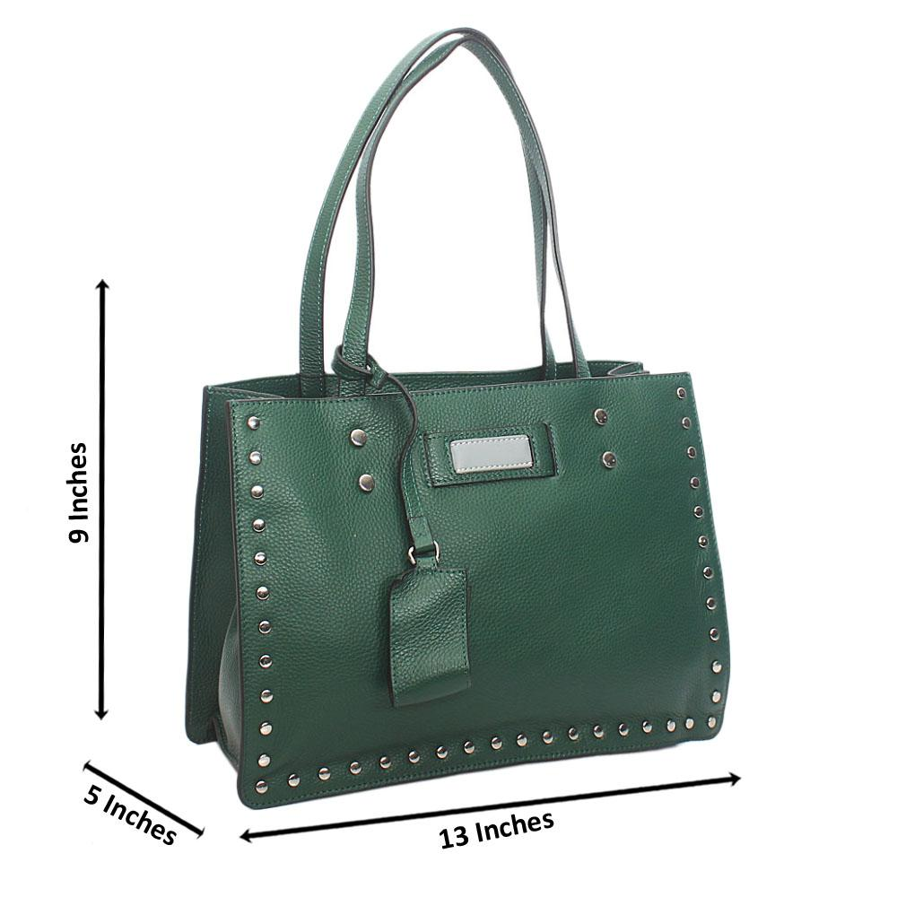 Green Studded Shoulder Tuscany Leather Handbag