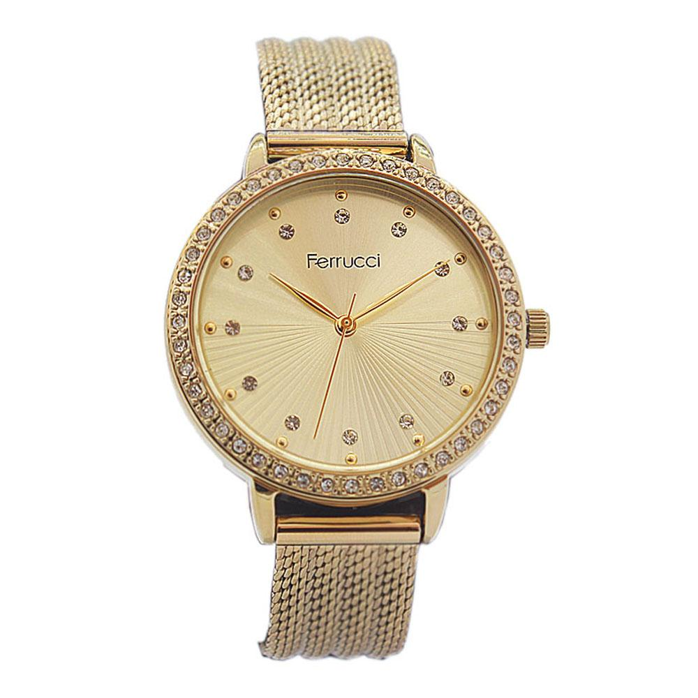 Ferrucci Studdded Gold Stainless Mesh Ladies Watch