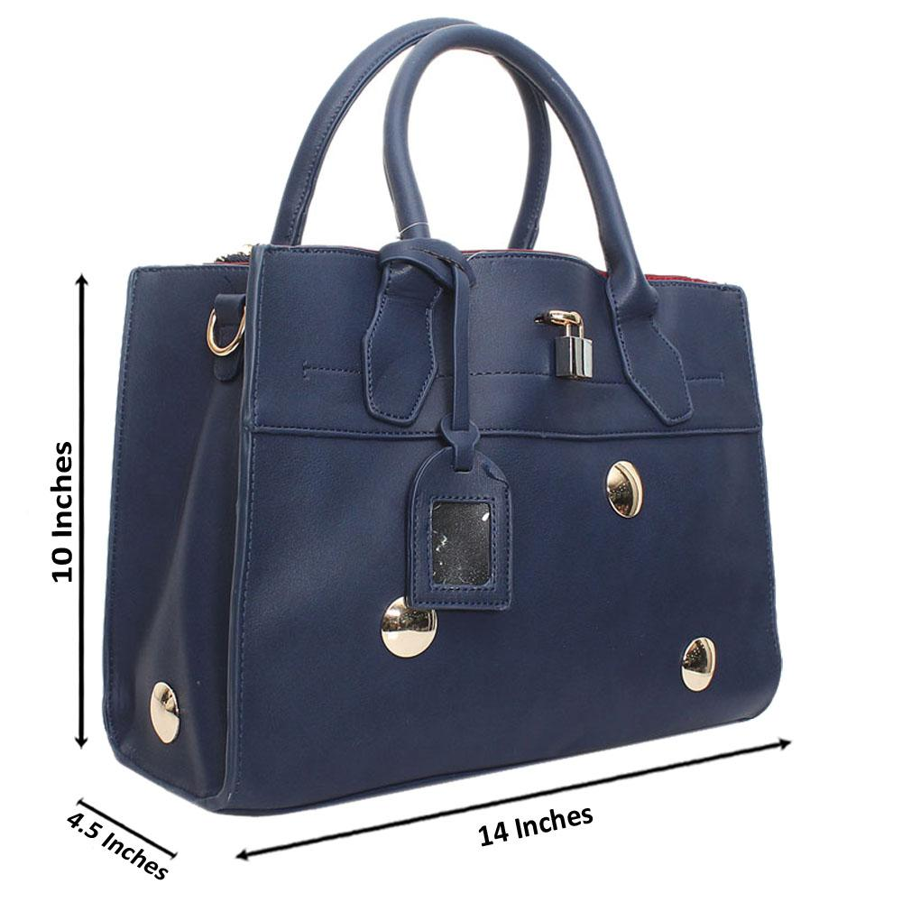 Navy  Leather Medium Stunning Handbag
