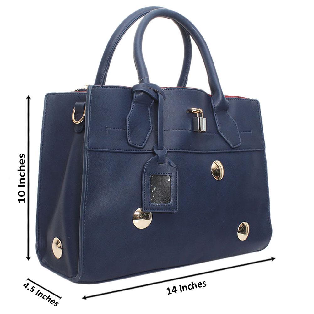 Navy  Leather Medium Stunning Handbag