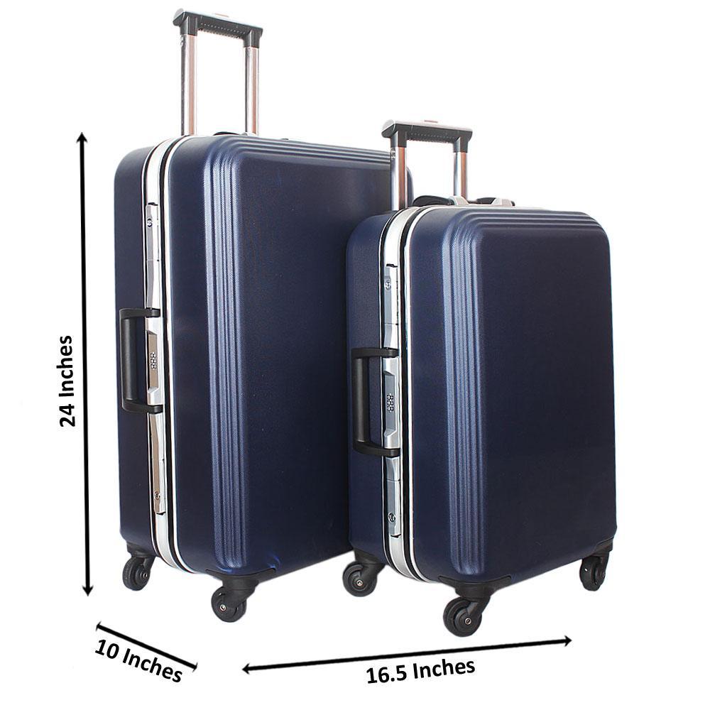 Bazili Blue 24 Inch Hardshell wt 18 Inch Carry On Suitcase Set
