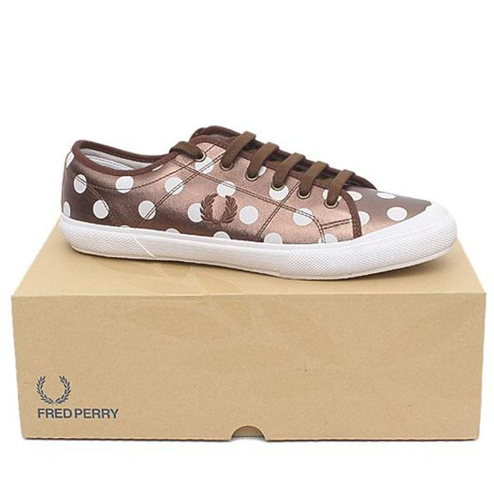 Fred Perry Bronze White Lace Up Men Sneakers-Sz 45