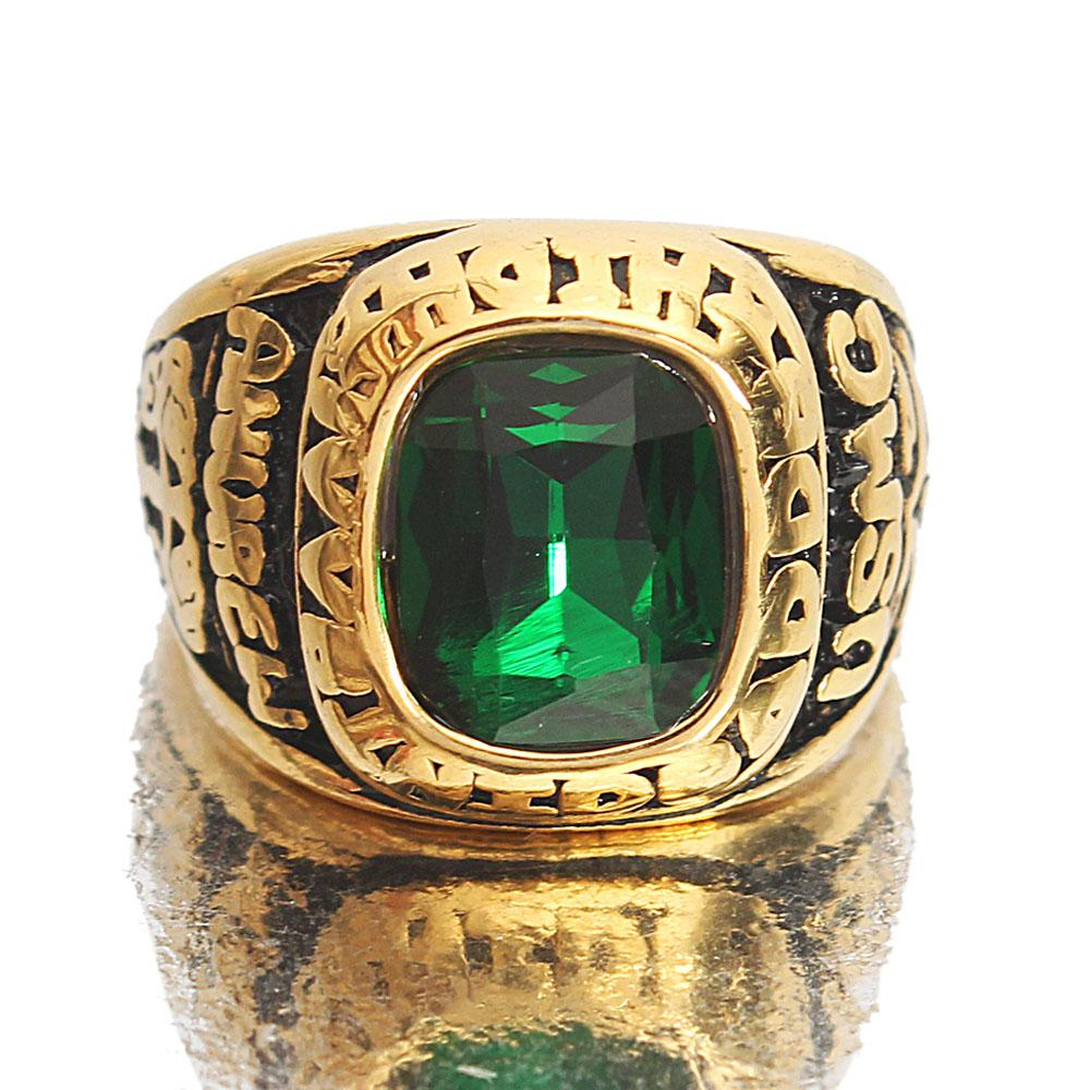 Gold Steel Green Classic Ring