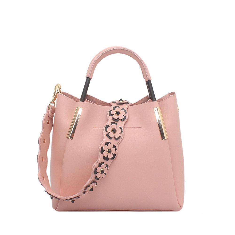 London Style Pink Leather Handbag
